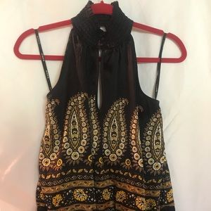 BeBe Halter Top Size S Black Yellow Floral Silk